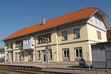Former railway station building during refurbishment